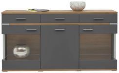 SIDEBOARD matt Eichefarben, Graphitfarben - Eichefarben/Silberfarben, Design, Glas/Holzwerkstoff (180,1/93,1/41,2cm) - Hom`in