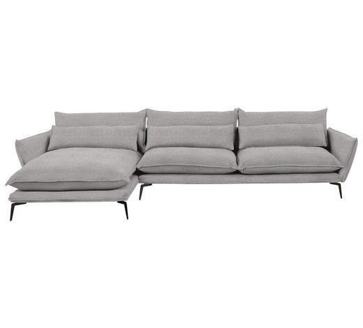 WOHNLANDSCHAFT in Textil Beige - Beige/Schwarz, Design, Textil/Metall (165/338cm) - Hom`in