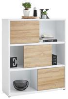 AKTENREGAL Eichefarben, Weiß - Eichefarben/Weiß, Design, Holzwerkstoff/Kunststoff (116,6/135,2/37cm) - Stylife
