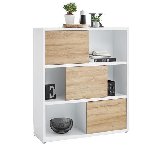 AKTENREGAL Weiß, Eichefarben  - Eichefarben/Weiß, Design, Holzwerkstoff/Kunststoff (116,6/135,2/37cm) - Stylife