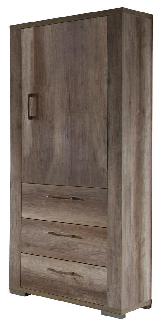 SCHRANK Trüffeleichefarben - Edelstahlfarben/Trüffeleichefarben, Design, Holzwerkstoff/Metall (76/199/45cm) - Carryhome