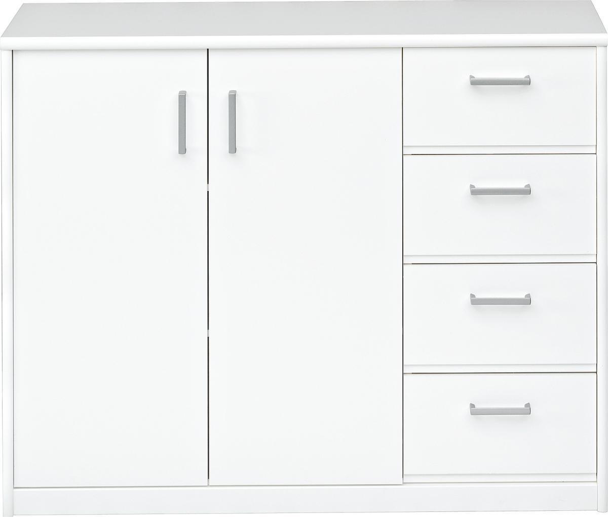 KOMMODE in Weiß - Silberfarben/Weiß, KONVENTIONELL, Holzwerkstoff/Kunststoff (106/84/36cm) - CS SCHMAL