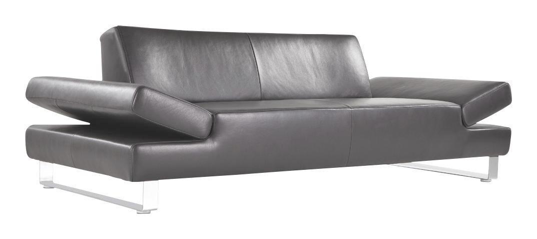 SOFA Echtleder Schwarz - Silberfarben/Hellgrau, Design, Leder/Metall (232/76/91cm) - CHILLIANO