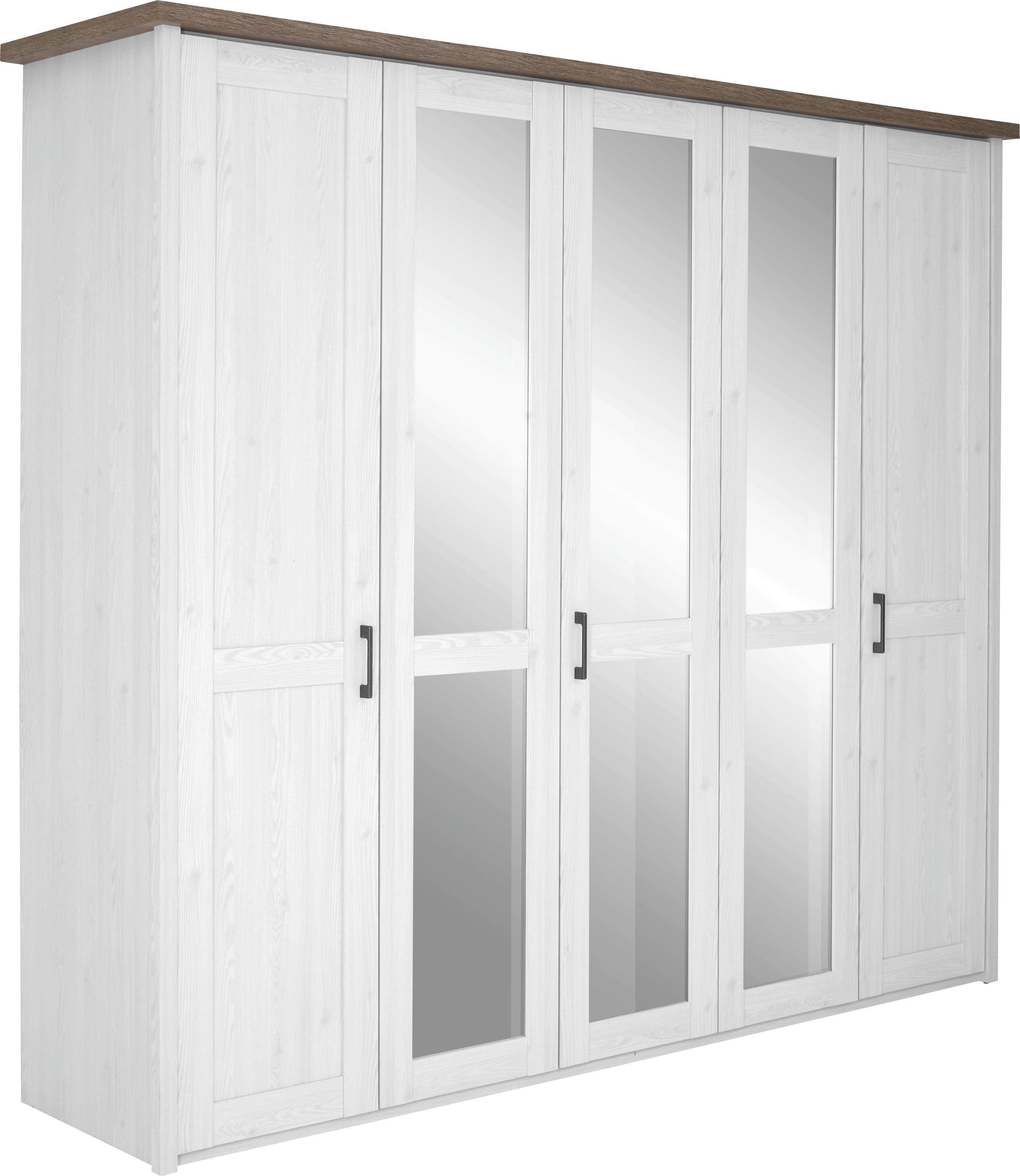 KLEIDERSCHRANK 5  -türig Eichefarben, Weiß - Eichefarben/Weiß, Design, Holzwerkstoff/Metall (235/213/61cm) - CARRYHOME