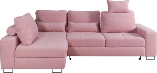 WOHNLANDSCHAFT Webstoff Bettkasten, Nackenstütze, Nierenkissen, Rücken echt, Rückenkissen, Schlaffunktion - Rosa, Design, Textil/Metall (188/260cm) - Hom`in