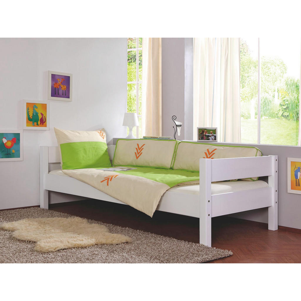 Juniorbett 'Nik' aus massivem weißem Buchenholz