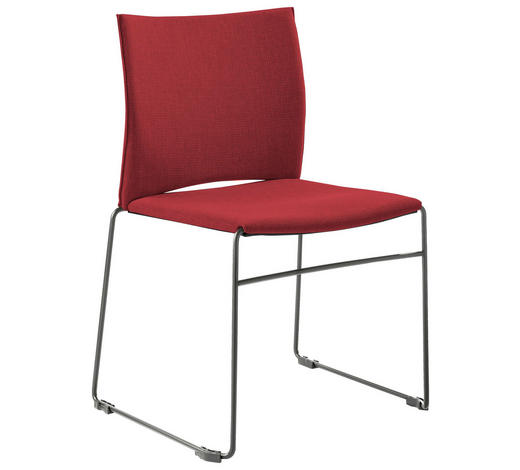 STUHL in Metall, Textil Grau, Rot - Rot/Grau, Design, Textil/Metall (56,5/82,5/54cm)