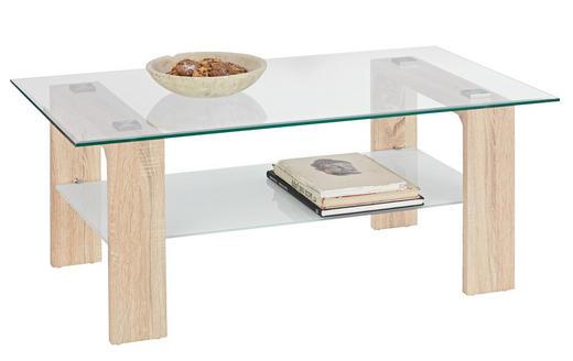 COUCHTISCH rechteckig Eichefarben, Weiß - Eichefarben/Weiß, Design, Glas (110/65/45cm) - Carryhome