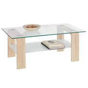 COUCHTISCH in Eichefarben, Weiß - Eichefarben/Weiß, Design, Glas/Holzwerkstoff (110/65/45cm) - Carryhome