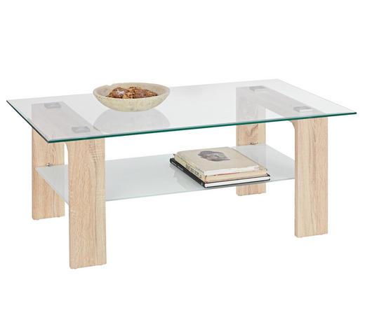 COUCHTISCH in Glas, Holzwerkstoff 110/65/45 cm   - Eichefarben/Weiß, Design, Glas/Holzwerkstoff (110/65/45cm) - Carryhome