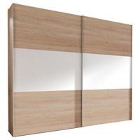 SCHWEBETÜRENSCHRANK in Weiß, Eichefarben  - Eichefarben/Alufarben, Design, Holzwerkstoff/Metall (250/236/68cm) - Hom`in
