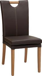STOL - brun/ekfärgad, Klassisk, läder/trä (46/99/65cm) - Venda