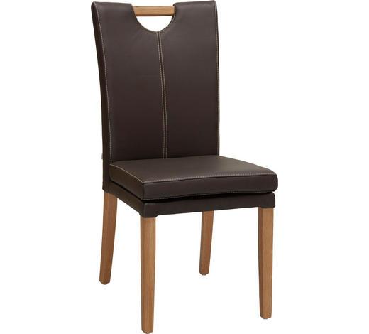 ŽIDLE, dřevo, kůže, kompozitní dřevo, hnědá, barvy dubu, - barvy dubu/hnědá, Konvenční, dřevo/kompozitní dřevo (46/99/65cm) - Venda