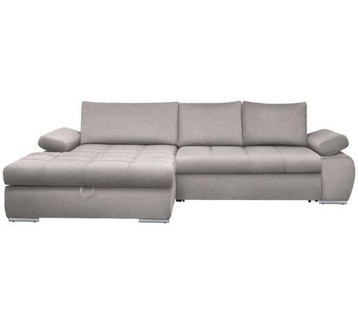 WOHNLANDSCHAFT in Textil Hellgrau - Chromfarben/Hellgrau, Design, Kunststoff/Textil (173/294cm) - Carryhome