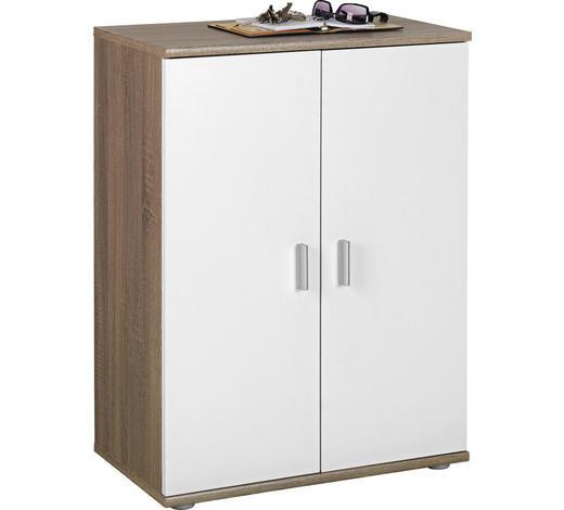 KOMODA, bílá, barvy dubu - bílá/barvy stříbra, Konvenční, kompozitní dřevo/umělá hmota (60/82/35cm)