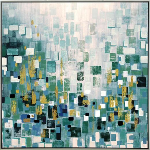 Abstraktes KUNSTDRUCK - Blau/Silberfarben, Design, Holz/Papier (85/85cm) - Monee