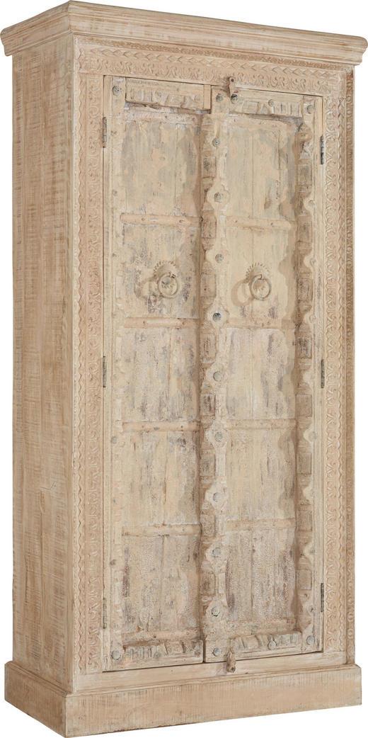 SCHRANK Mangoholz massiv antik, sägerau Naturfarben - Creme/Naturfarben, LIFESTYLE, Holz/Metall (95/185/43cm) - Landscape