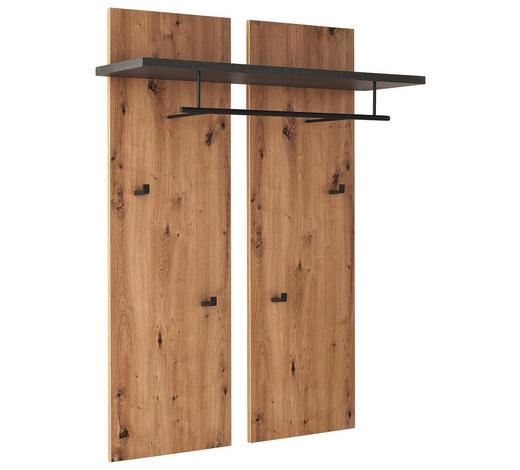 GARDEROBENPANEEL 88/118/28 cm - Eichefarben/Schwarz, KONVENTIONELL, Holz/Holzwerkstoff (88/118/28cm) - Voleo