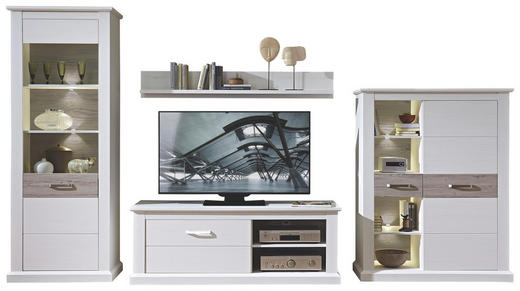 WOHNWAND Taupe, Weiß - Taupe/Weiß, LIFESTYLE, Glas/Holzwerkstoff (363/208/52cm) - Carryhome