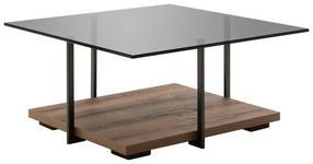 COUCHTISCH in Metall, Glas, Holzwerkstoff 85/85/41 cm   - Schwarz/Braun, Design, Glas/Holzwerkstoff (85/85/41cm) - Moderano