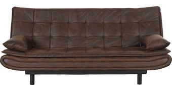 SCHLAFSOFA Lederlook Dunkelbraun  - Dunkelbraun/Schwarz, Design, Kunststoff/Textil (194/84/100cm) - Ti`me