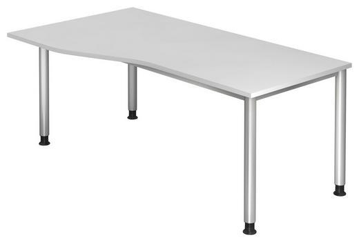 SCHREIBTISCH Silberfarben, Weiß - Silberfarben/Weiß, KONVENTIONELL, Metall (180/68-76/80/100cm)