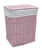 KOŠARA ZA RUBLJE - roza, Basics, drvo/tekstil (45/34/56cm) - LANDSCAPE