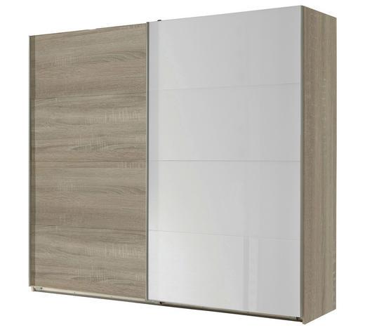 SCHWEBETÜRENSCHRANK 2-türig Weiß, Eichefarben  - Eichefarben/Weiß, Design, Glas/Holzwerkstoff (225/210/65cm) - Carryhome