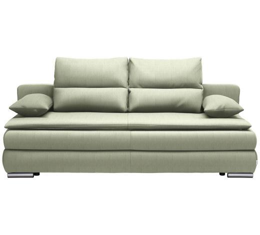 SCHLAFSOFA in Textil Silberfarben, Hellgrün - Silberfarben/Hellgrün, KONVENTIONELL, Kunststoff/Textil (207/94/90cm) - Venda