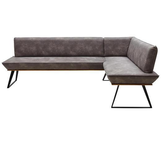 ECKBANK 243/163 cm  in Grau, Schwarz, Eichefarben - Eichefarben/Schwarz, Design, Holz/Textil (243/163cm) - Voleo