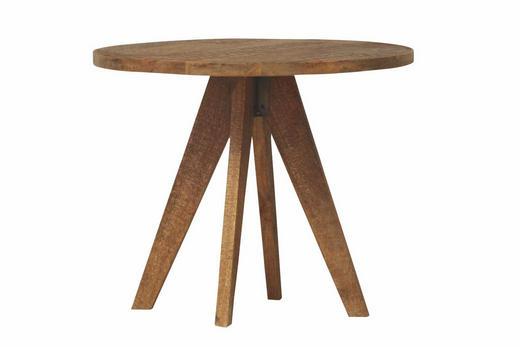 COUCHTISCH Mangoholz massiv rund Braun, Nickelfarben - Braun/Nickelfarben, Design, Holz/Metall (65/54cm)