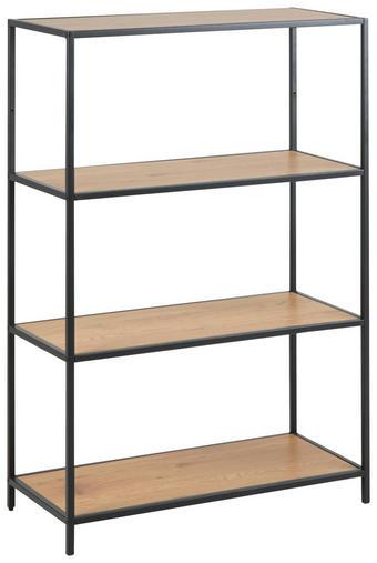 REGAL 77/114/35 cm hrast - črna/hrast, Design, kovina/leseni material (77/114/35cm) - Carryhome