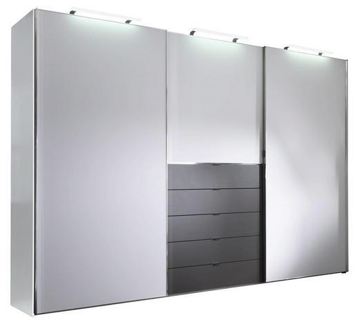SCHWEBETÜRENSCHRANK in Graphitfarben, Weiß  - Chromfarben/Graphitfarben, KONVENTIONELL, Holzwerkstoff/Metall (249/240/68cm) - Moderano