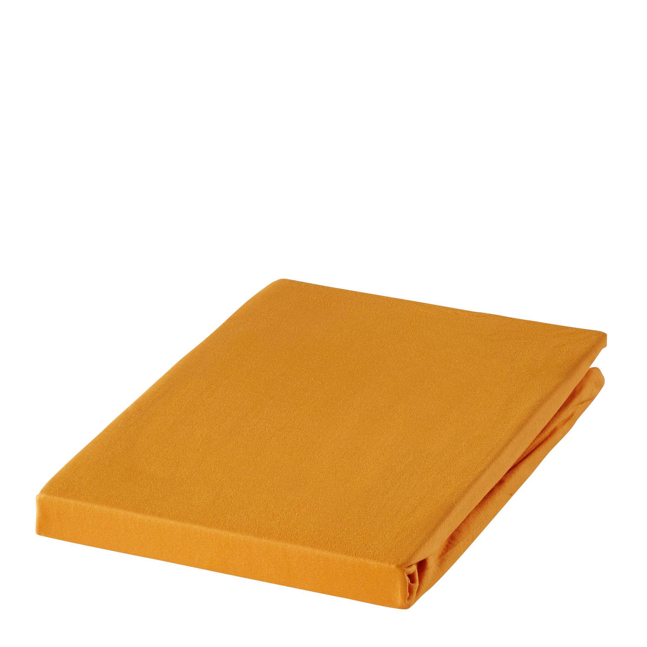 SPANNBETTTUCH Zwirn-Jersey Orange bügelfrei, für Wasserbetten geeignet - Orange, Basics, Textil (150/200cm) - ESTELLA