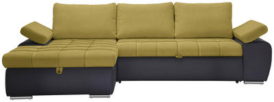 WOHNLANDSCHAFT in Textil Dunkelgrau, Gelb, Grün - Dunkelgrau/Gelb, Design, Kunststoff/Textil (175/271cm) - Xora