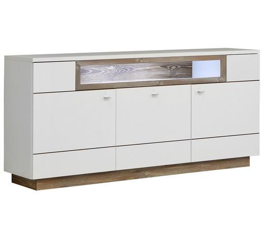 SIDEBOARD 180/85/42 cm - Alufarben/Weiß, Design, Holzwerkstoff/Metall (180/85/42cm) - Hom`in