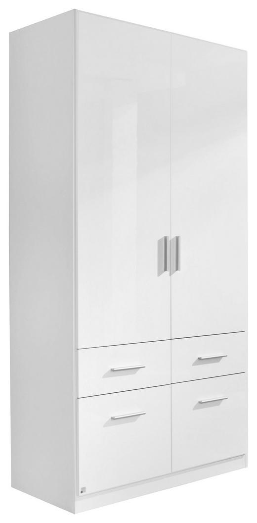 KLEIDERSCHRANK 2  -türig Weiß - Alufarben/Weiß, KONVENTIONELL, Holzwerkstoff/Kunststoff (91/197/54cm) - CARRYHOME