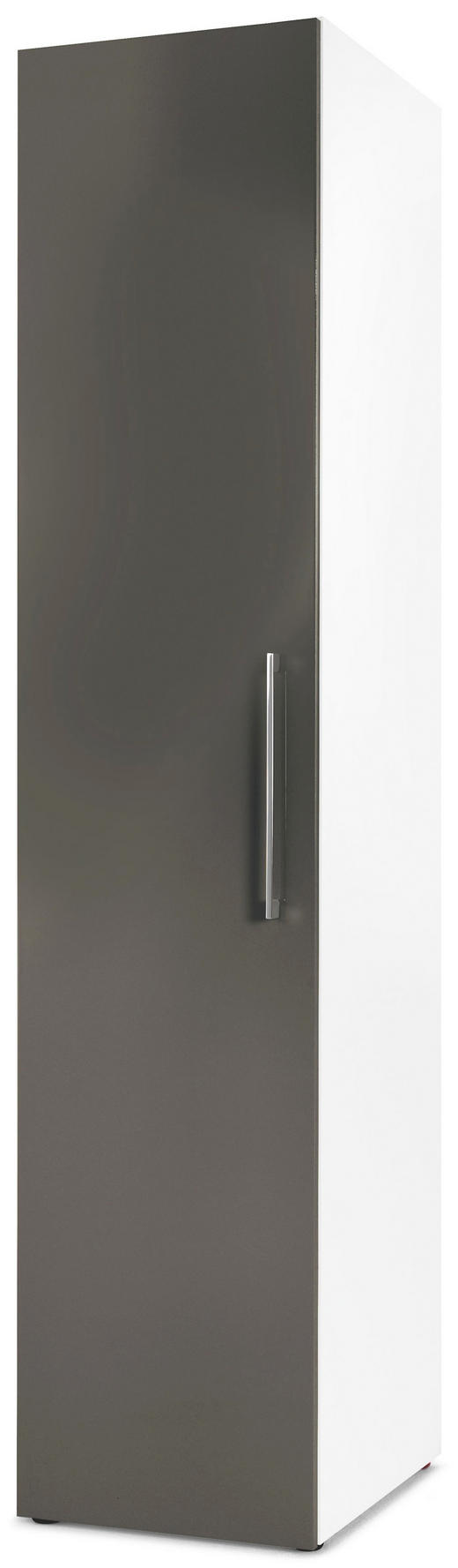 DREHTÜRENSCHRANK 1-türig Grau, Weiß - Chromfarben/Weiß, Design, Holzwerkstoff/Metall (45/208/57cm) - Carryhome