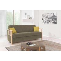 SCHLAFSOFA in Textil Grün - Naturfarben/Grün, LIFESTYLE, Holz/Textil (200/90/75cm) - Venda