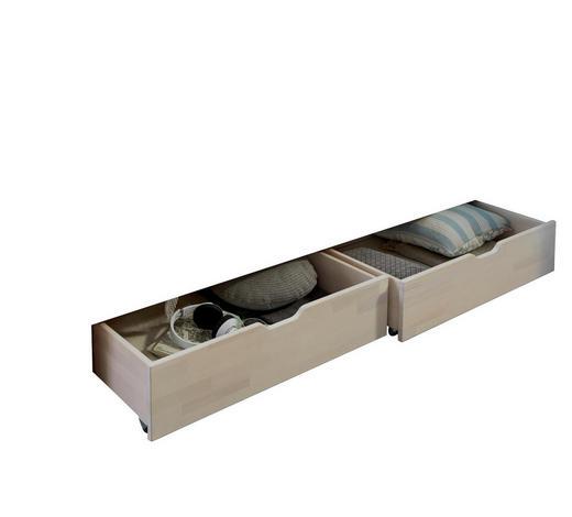 BETTKASTENSET - Buchefarben/Weiß, Design, Holz (81/90/21cm)