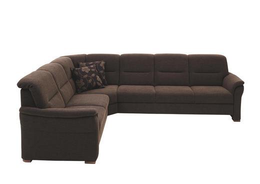 WOHNLANDSCHAFT in Textil Braun - Nussbaumfarben/Braun, KONVENTIONELL, Holz/Textil (246/304/cm) - Beldomo Comfort