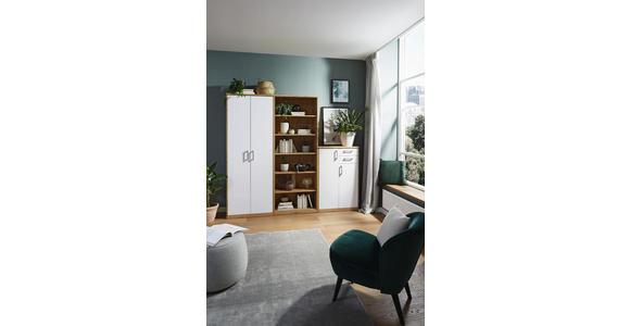 KLEIDERSCHRANK in Weiß, Eichefarben  - Eichefarben/Silberfarben, KONVENTIONELL, Holzwerkstoff/Kunststoff (157/194/54cm) - Xora