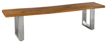 SITZBANK Wildeiche massiv Eichefarben, Edelstahlfarben - Edelstahlfarben/Eichefarben, Design, Holz/Metall (180/40/45cm) - Linea Natura