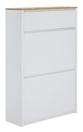 SKOSKÅP MED LUCKOR - vit/ekfärgad, Design, träbaserade material (69,6/107,1/24,8cm) - Carryhome