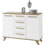 KOMODA, bela, hrast - hrast/bela, Design, umetna masa/leseni material (120/90/40cm) - Ti`me