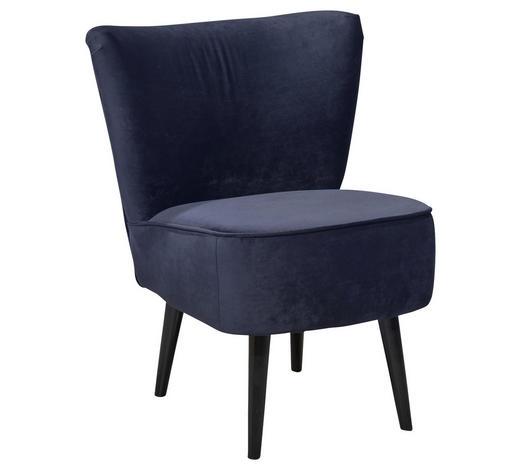 SESSEL in Textil, Holzwerkstoff Blau - Blau/Schwarz, Trend, Holz/Holzwerkstoff (65/89/70cm) - Carryhome