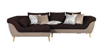 WOHNLANDSCHAFT in Textil Dunkelbraun, Hellbraun  - Hellbraun/Dunkelbraun, Design, Holz/Textil (175/313cm) - Carryhome