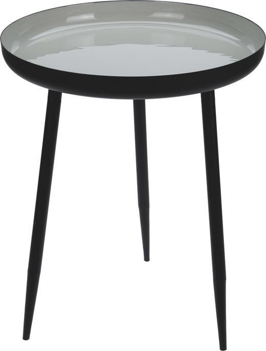 BEISTELLTISCH rund Creme, Schwarz - Creme/Schwarz, Metall (37/45cm)