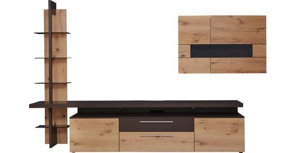 WOHNWAND in Braun, Eichefarben - Edelstahlfarben/Eichefarben, Design, Glas/Holz (323/213/56cm) - Dieter Knoll