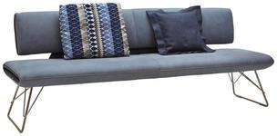 SITZBANK Echtleder Blau, Dunkelblau  - Blau/Edelstahlfarben, Design, Leder/Metall (225/88/66cm) - Ambiente